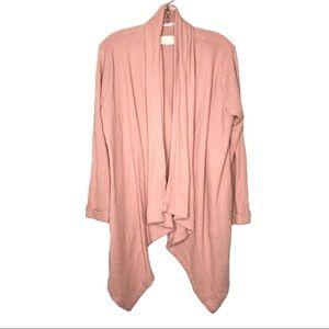 Danskin ballet pink waffle knit waterfall cardigan